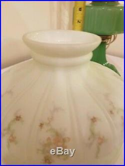 Antique Aladdin Jadeite Green Moonstone VERTIQUE Kerosene Oil Lamp with HP Shade