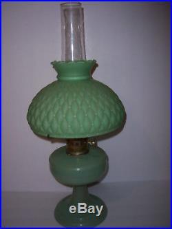 Antique Aladdin Jadite Kerosene Oil Lamp