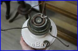 Antique Aladdin Lincoln Drapery Design Oil Kerosene Lamp With Shade And Chimney