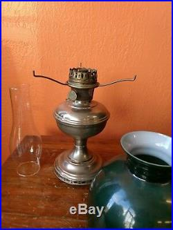 Antique Aladdin Model 11 Mantle Lamp Co with Glass Chimney & Green Glass Shade