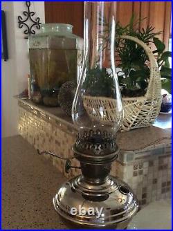 Antique Aladdin Model 6 Nickel Plated Kerosene Mantle Lamp Chimney & Shade