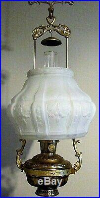 Antique Aladdin Model 7 Kerosene Hanging Lamp #717 with Motor, 416 Shade, Font etc