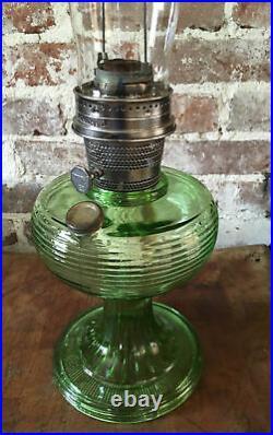 Antique Aladdin Oil Kerosene Lamp Green Beehive Pattern With Original Chimney