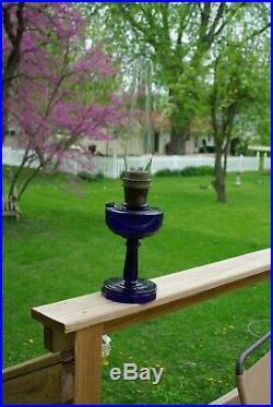 Antique Aladdin Oil Lamp Lincoln Drape Coblat Blue Scallop Foot Model B