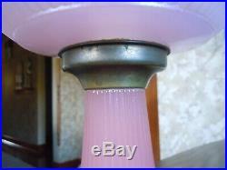 Antique Aladdin Pink Vertique Kerosene Oil Lamp & Chimney