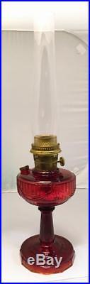 Antique Aladdin Red Amberina B Oil Lincoln Drape Lamp Tall 10 1/2 Not Scalloped