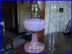 Antique Aladdin White Vertique Kerosene Oil Lamp & Chimney