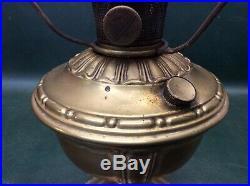Antique Brass Aladdin Hurricane Kerosene Table Lamp Model No. 7 with Drape Shade