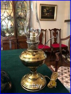 Antique Brass Aladdin No. 11 Kerosene Lamp Electrified With Green Shade