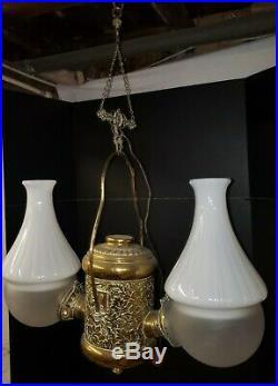 Antique Brass Double Hanging ANGLE LAMP electrified Grape Embossed Font kerosene