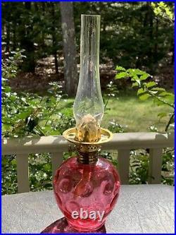 Antique EAPG Red Cranberry Miniature Oil Kerosene Lamp with Burner & Chimney