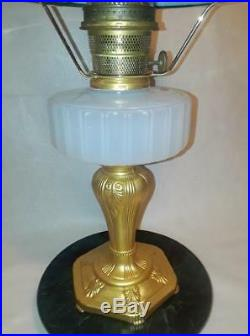 Antique GEM Aladdin Majestic White Moonstone Lamp w / Green Ribbed Cased Glass