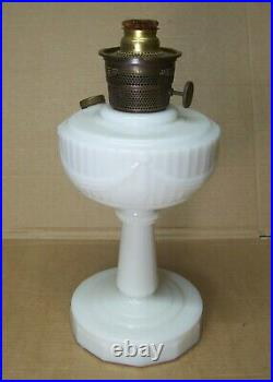 Antique Kerosene Lamp Aladdin Milk Glass Vtg Lincoln Drape Brass Round Wick #R31