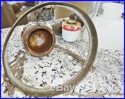 Antique Majolica Pottery Hanging Kerosene Oil Lamp Rare Cast Iron Dutch Girl Bkt