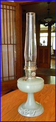Antique Mantel Co Aladdin Nu-Type Model A Green Venetian Lamp Lox-On & Chimney