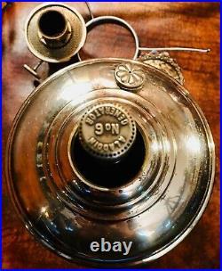Antique NICKEL ALADDIN MODEL 6 No. 6 BURNER and 301 Chippendale Satin Shade