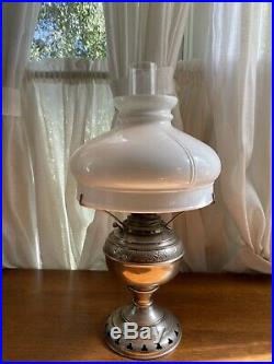 Antique Nickel Plated Rayo Miller Aladdin Oil Lamp With Milk Glass Shade Reverted
