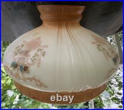 Antique Painted Flowers Glass ALADDIN COLEMAN Oil Kerosene Lamp 10 SHADE Great