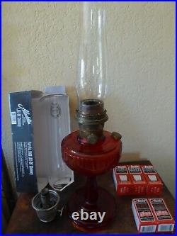 Antique Rare 1940-50's Lincoln Drape Tall Ruby Red Amborina Aladdin Lamp XTRAS