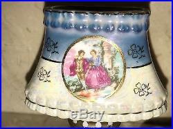 Antique Victorian Ceramic Lustreware Kerosene Oil Aladdin Finger Lamp & Shade