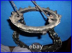 Antique Victorian Hanging Iron Horse Cast Iron Frame Kerosene Oil Lamp Part
