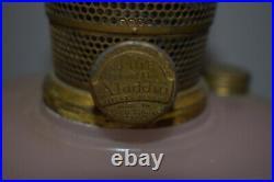 Antique Vintage ALADDIN Majestic PInk Rose Moonstone Oil Kerosene Lamp