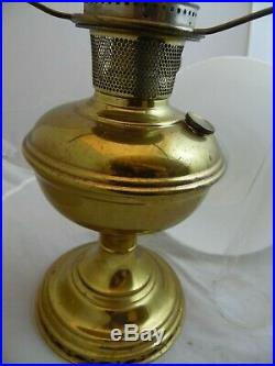 Antique Vintage ALADDIN Oil Lamp Gold Matching White Glass Shade Chimney