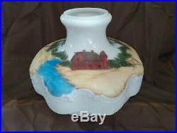 Antique Vintage Aladdin Brass Kerosene Oil Lamp W Handpainted Milk Glass Shade