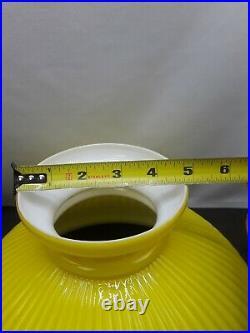Antique Yellow Cased Glass Narrow Rib Oil Kerosene Lamp Shade 12 Aladdin B&H