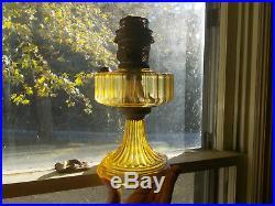 BEAUTIFUL YELLOW GLASS ALADDIN 1930s CORINTHIAN LAMP ORIGINAL MODEL B BURNER