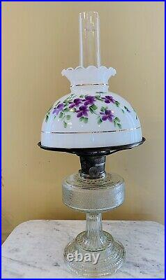 Beautiful 1933 ALADDIN Colonial Clear Crystal Lamp with Hand Painted Shade