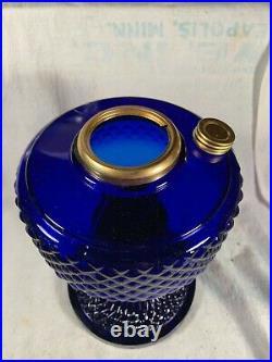 Beautiful ALADDIN style Cobalt-Blue Glass Quilt Kerosene Oil Lamp Base