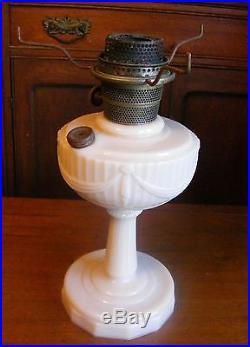 Beautiful Aladdin Model B Lincoln Drape Tall Kerosene Lamp, Painted Glass Shade