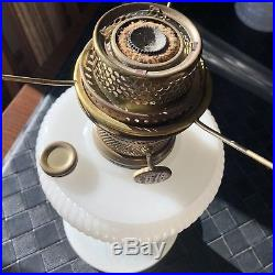 Beautiful Antique White Moonstone Aladdin Vertique Lamp Base With Shade & Burner