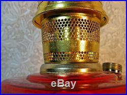 Beautiful Ruby Red Vintage Aladdin Lincoln Drape Kerosene Oil Lamp