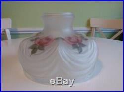 Beautiful Vintage Frosted Glass Lamp Shade Roses for Aladdin Coleman Rayo