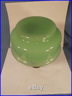 C1930s ALADDIN Green Moonstone Glass Kerosene Oil Lamp Nickle Burner Chimney
