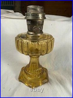 C1934-19365 ALADDIN Model 109 Amber Cathedral Kerosene Oil Lamp Table Lamp