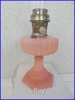 C1934 ALADDIN #112 ROSE Cathedral Kerosene Oil Lamp wBurner & Chimney