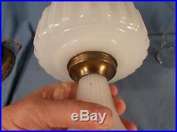 C1935 ALADDIN B-110 WHITE Moonstone Corinthian Kerosene Oil Lamp wBurner Chimney