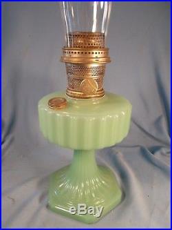 C1935 ALADDIN B-111 APPLE GREEN Corinthian Kerosene Oil Lamp wBurner & Chimney