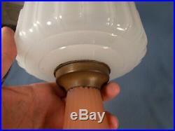C1935 ALADDIN B-126 White & Rose Corinthian Kerosene Oil Lamp wBurner & Chimney