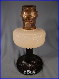 C1937 ALADDIN B-90 White & Black Foot Moonstone Quilt Kerosene Oil Lamp wChimney