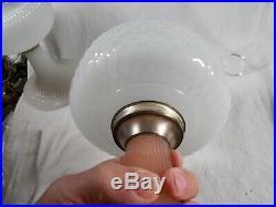 C1937 ALADDIN B-91 White & Pink Foot Moonstone Quilt Kerosene Oil Lamp wChimney