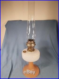 C1937 ALADDIN B-91 White & Rose Foot Moonstone Quilt Kerosene Oil Lamp w Chimney