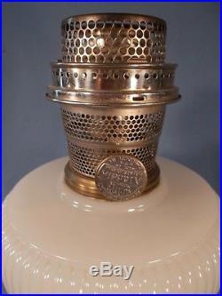 C1938 ALADDIN B-93 White Moonstone VERTIQUE Kerosene Oil Lamp wBurner & Chimney