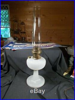 C1938 ALADDIN B-93 White Moonstone VERTIQUE Kerosene Oil Lamp wChimney