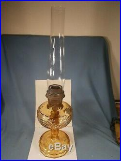C1940 ALADDIN B-52 Amber Washington Drape Kerosene Oil Lamp wBurner & Chimney