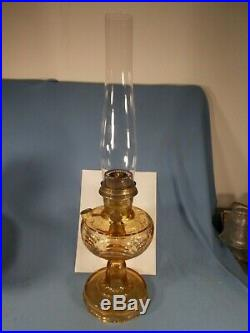 C1941 ALADDIN B-49 Amber Bell Stem Washington Drape Kerosene Oil Lamp wChimney