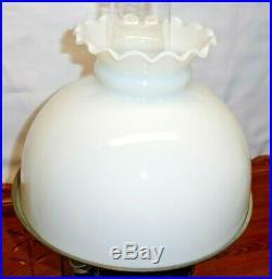 Cobalt Blue Aladdin Model B Lincoln Drape B-76 Kerosene Lamp with Milk Glass Shade